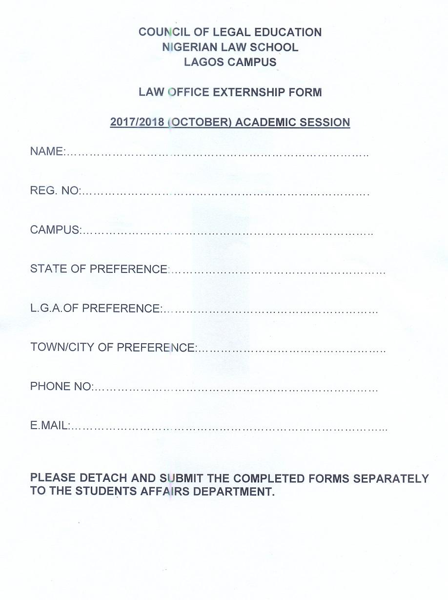 REGISTRATION GUILDELINES Law School Lagos Campus - Law form